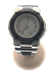 ソーラー腕時計/デジアナ/ラバー/WHT/NVY