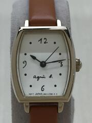 クォーツ腕時計/アナログ/レザー/WHT/BRW/1N01-0RZ0/アニエスベー