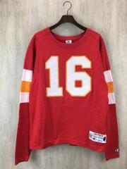 90s/THROWBACKS/フットボールTee/長袖Tシャツ/M/コットン/RED/チャンピオン