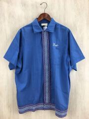 70s/ボーリングシャツ/半袖シャツ/L/コットン/BLU/キングルイ