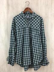 String Shirt/長袖シャツ/S/コットン/GRN/チェック/エーアイイー