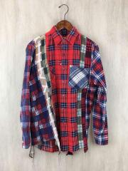 再構築リメイクシャツ/ネルシャツ/XS/コットン/RED/チェック/リビルドバイニードルス