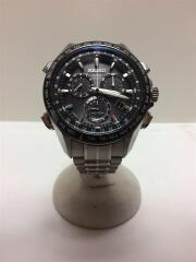 ソーラー腕時計/アナログ/チタン/BLK/SLV
