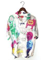 Daniel Johnston Rayon S/S Shirt/半袖シャツ/L/レーヨン/WHT/総柄