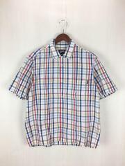OLD STUSSY/USA製/半袖シャツ/M/コットン/WHT/チェック/ステューシー