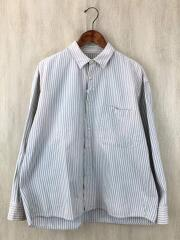 Germinal Shirts/サスペンダーヤケ加工/M/コットン/BLU/ストライプ/ポータークラシック