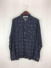 Classic Shirt Rayon Dobby Plaid長袖シャツ/S/レーヨン/NVY/チェック/CH117