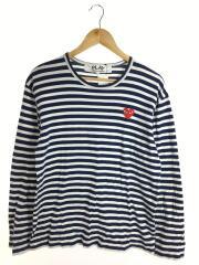 プレイコムデギャルソン/長袖Tシャツ/L/コットン/NVY/ボーダー/AZ-T010