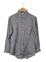 長袖シャツ/S/リネン/NVY/ネイビー/無地/USA Sサイズ/ボタンダウンシャツ