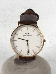 ダニエルウェリントン/0507DW/クォーツ腕時計/アナログ/レザー/ホワイト/ブラウン