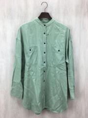ジーナシス/バンドカラーシャツ/長袖シャツ/グリーン/JS063347MC/FREE/無地