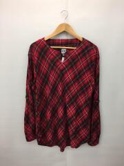 プルオーバーシャツ/タータンチェック/長袖シャツ/M/コットン/RED/チェック