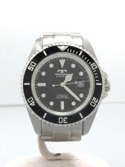 10気圧防水ダイバーウォッチ/腕時計/アナログ/ステンレス/BLK/SLV