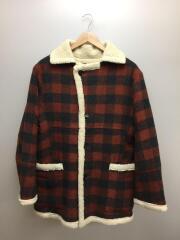 17AW/Court Plaid Shearling Coat/コート/XS/ウール/RED/チェック/SLA-M135