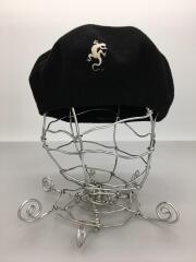 ワンポイントトカゲデザイン ベレー帽/T1/ウール/BLK/091796