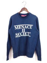 14SS/Menace Crewneck/スウェット/S/コットン/ネイビー