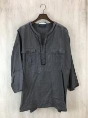 14/S/S/LINEN PULLOVER SHIRT/シャツ/3/リネン/GRY/無地