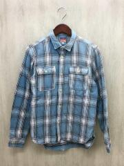 ヘビーフランネルワークシャツ/L/コットン/IDG/チェック