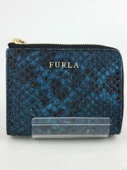 パイソン型押し/ブルーメタル財布/BLU/レディース