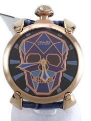 ガガミラノ/MANUALE/BIONIC SKULL/手巻き巻腕時計/アナログ/レザー/ブルー