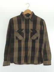 ザフラットヘッド/ヘビーシャツ/長袖シャツ/--/コットン/チェック/ハーフジップ