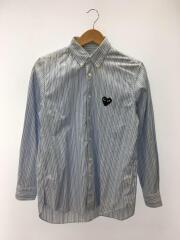 長袖シャツ/S/コットン/BLU/ストライプ/2013年モデル/襟汚れ有り
