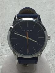 クォーツ腕時計/アナログ/レザー/NVY