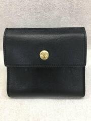 Wホック/2つ折り財布/レザー/C0424P/BLK