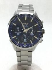 ソーラー腕時計/アナログ/NVY/SLV