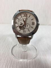 自動巻腕時計/アナログ/レザー/WHT/BEG