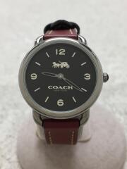 コーチ/クォーツ腕時計/アナログ/レザー/BLK/BRD/14502792 W1249