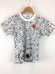 プレイコムデギャルソン/Tシャツ/S/コットン/WHT/総柄