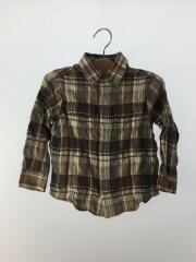 長袖シャツ/100cm/コットン/BRW/チェック