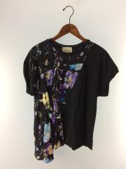 Floral-Panel T-Shirt/半袖カットソー/XS/コットン/BLK/花柄/E181-1435SFK