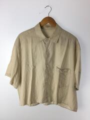 18SS/コットンシルクシャツ/ヨゴレ有/半袖シャツ/FREE/コットン/BEG/ストライプ