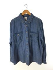 USED/ハードロックカフェ/デニムBDシャツ/刺繍/ヨゴレ/長袖シャツ/XL/デニム/BLU