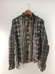 Ribbon Wide Shirt/リメイク/再構築/長袖シャツ/--/コットン/GRY/チェック