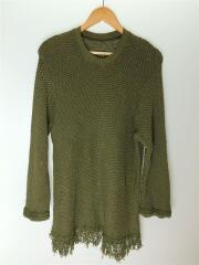 セーター(厚手)/L/コットン/カーキ/レプラT/18SS