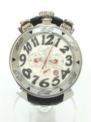 クォーツ腕時計/アナログ/ラバー/WHT/BLK/ブラック/CHRONO