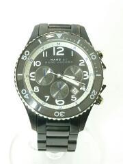 クォーツ腕時計/アナログ/ステンレス/BLK/BLK/ブラック