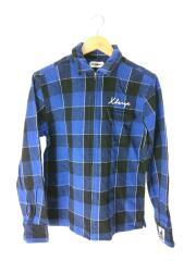 ネルシャツ/FULLZIP SHIRT/チェック/コットン/S/ブルー
