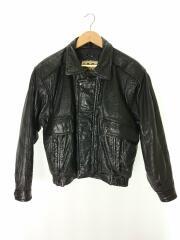 レザージャケット・ブルゾン/L/BLK/ブラック/無地/品質表示タグなし