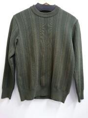 セーター(薄手)/1/コットン/グリーン/ヘリンボーンストライプ/クールネック/