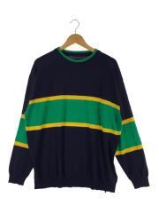セーター(薄手)/L/コットン/NVY/ニット/三色/コットン/紺/タグ付き