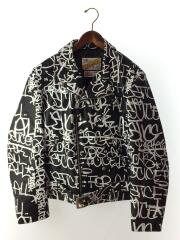18AW/PAINTED PERFECTO LEATHER JKT/ダブルライダースジャケット/M/牛革