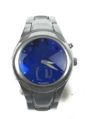 クォーツ腕時計/デジアナ/ステンレス/BLU/SLV