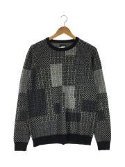 セーター(薄手)/M/ウール/グレー/総柄