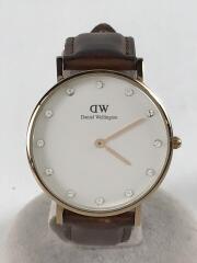 クォーツ腕時計/アナログ/レザー/WHT/BRW/034R5