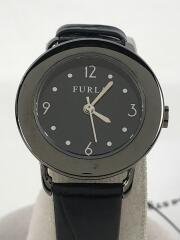 クォーツ腕時計/レザー/BLK/BLK