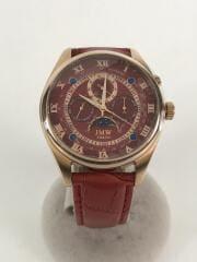 JMW TOKYO/クォーツ腕時計/アナログ/レザー/RED/JM-0006